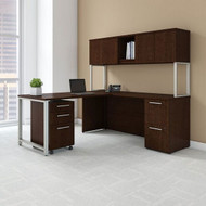 """Bush Business Furniture 400 Series L-shaped Table Desk 72"""" x 22"""" with 48"""" Return, Hutch and 3 Drawer Pedestal, Mocha Cherry - 400S127MR"""