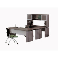 "Mayline Medina Laminate Executive 63"" Desk U-Shaped Package Left - MNT33-LGS"