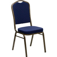 Flash Furniture Hercules Series Crown Back Stacking Banquet Chair with Navy Blue Patterned Fabric - FD-C01-GOLDVEIN-S0810-GG