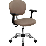 Flash Furniture Mid-Back Coffee Brown Mesh Task Chair with Arms and Chrome Base - H-2376-F-COF-ARMS-GG