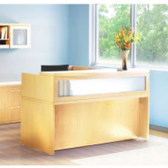 Mayline Aberdeen Reception Desk L-Shaped with Pedestals Maple - AT36-LMA