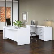 """Bush Business Furniture Studio C Bow Front Desk, Credenza and File Storage 72"""" White - STC009WH"""