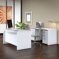 """Bush Business Furniture Studio C Bow Front Desk, Credenza and File Storage 60"""" White - STC010WH"""