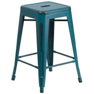 "Flash Furniture Distressed Kelly Blue-Teal Metal Indoor-Outdoor Counter Height Stool 24""H - ET-BT3503-24-KB-GG"
