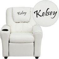 Flash Furniture Kid's Recliner with Cup Holder White Vinyl Dreamweaver Embroiderable - DG-ULT-KID-WHITE-EMB-GG