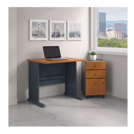 Bush Business Furniture Series A 36W Desk with Mobile File Cabinet in Natural Cherry - SRA024NCSU