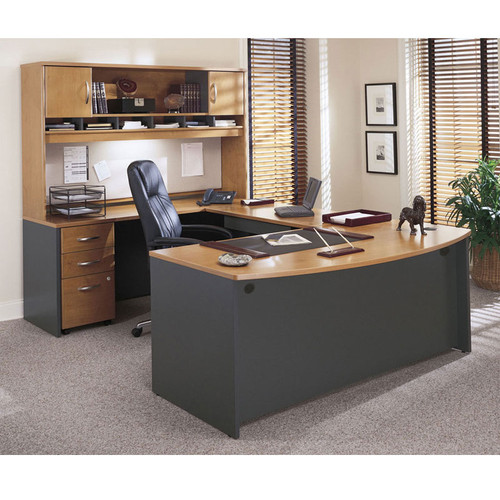 bush business furniture series c package executive u shaped bowfront desk package natural cherry ncpackagef rh epicofficefurniture com