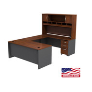 "Bush Business Furniture Series C Executive U-Shaped Desk 72"" with Hutch and 3-Drawer Pedestal Hansen Cherry - SRC004HCSU"