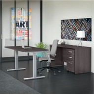 "Bush Business Furniture Studio C Desk and Height Adjustable Standing Desk Package 60"" Storm Gray - STC017SG"