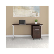 "Bush Business Furniture 400 Series Table Desk 60"" x 24"" with 3-Drawer Mobile Pedestal, Mocha Cherry - 400S216MR"