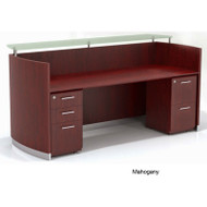 Mayline Medina Reception Station with Two File Pedestals Mahogany - MNRSBF-LMH