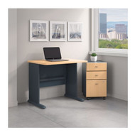 Bush Business Furniture Series A 36W Desk with Mobile File Cabinet in Beech - SRA024BESU