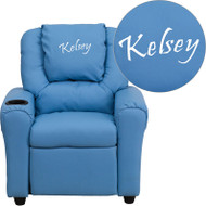 Flash Furniture Kid's Recliner with Cup Holder Light Blue Vinyl Dreamweaver Embroiderable - DG-ULT-KID-LTBLUE-EMB-GG