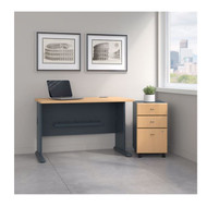 "Bush Business Furniture Series A Desk with Mobile File Cabinet in Beech  48""W - SRA025BESU"