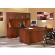 "Mayline Aberdeen Executive U-Shaped Desk 72"" w/Glass Door Hutch Package Cherry - AT5-LCR"