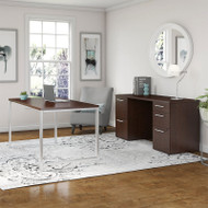 "Bush Business Furniture 400 Series Table Desk 60"" x 30"" with Double Pedestal Credenza, Mocha Cherry - 400S138MR"