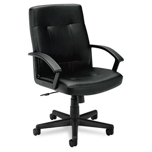 Incredible Basyx Black Leather Managerial Mid Back Chair Vl602Sb11 Spiritservingveterans Wood Chair Design Ideas Spiritservingveteransorg