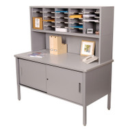 "Marvel 25 Adjustable Slot Literature Organizer with Riser and Cabinet Slate Gray 60""W x 30""D x 60-68""H - UTIL0025"