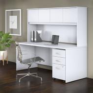 "Bush Business Furniture Studio C Desk with Hutch and Mobile Pedestal 72"" White - STC011WH"