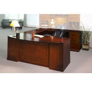 Mayline Sorrento Right U-Shaped Bowfront Desk with one PBF and one FF Pedestal Bourbon Cherry - SURBBF72-SCR
