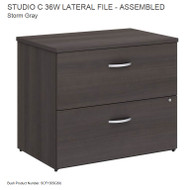 "Bush Business Furniture Studio C Lateral File Assembled 36"" Storm Gray - SCF136SGSU"