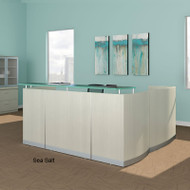 Mayline Medina Reception Station L-Shaped with 1 F/F Pedestal Textured Sea Salt Finish  - MNRS1FF