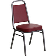 Flash Furniture Hercules Series Trapezoidal Back Stacking Banquet Chair with Burgundy Vinyl - FD-BHF-1-SILVERVEIN-BY-GG