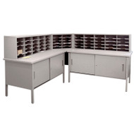 "Marvel 60 Adjustable Slot Literature Organizer with Cabinet Slate Gray 90""W x 30""D x 34-42""H - UTIL0033"