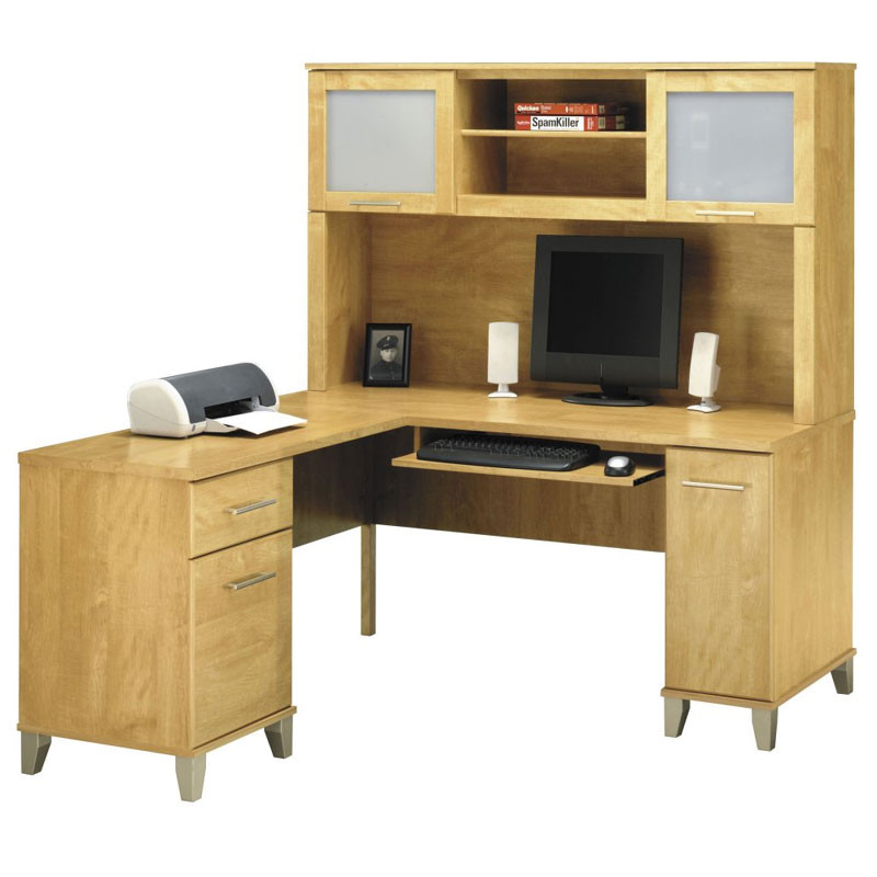 bush wc81430 31 somerset 60 l shaped desk package maple cross free rh epicofficefurniture com bush somerset desk assembly instructions bush somerset l-shaped desk with hutch - maple