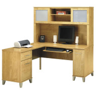 """Bush Somerset Collection L-Shaped Desk with Hutch Package 60"""" Maple Cross - WC81430-31"""