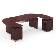 "Mayline Medina Executive 63"" Desk with 2  Returns and Center Drawer Mahogany - MNT3-LMH"