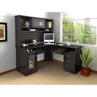 """Bush Cabot Collection L-Shaped Desk 60"""" & Hutch Espresso Oak - CAB001EPO"""