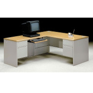 HON 38000 L-Shaped Metal Desk Workstation with Return on Left - 38291R_38216L