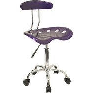 Flash Furniture Vibrant Violet and Chrome Computer Task Chair with Tractor Seat - LF-214-VIOLET-GG