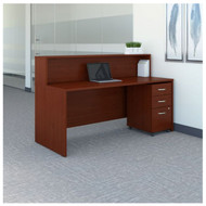 "Bush Business Furniture Series C Reception Desk with 3-Drawer Mobile Pedestal Mahogany 72""W x 30""D - SRC096MASU"