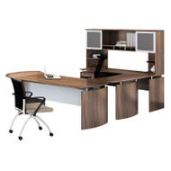 "Mayline Medina Laminate Executive 63"" Desk U-Shaped Package Left Textured Brown Sugar Finish - MNT30TBS"
