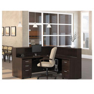 Bush Business Furniture Series C Package L-Shaped Reception Desk Mocha Cherry - MOC1