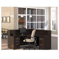 Bush Business Furniture Series C Package L-Shaped Reception Desk Mocha Cherry - MOC1