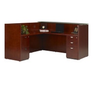 Mayline Mira Reception Desk Station with Glass Countertop and Return Medium Cherry - MRSRBFG-MC