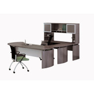 "Mayline Medina Laminate Executive 72"" Desk U-Shaped Package Left Gray Steel - MNT32-LGS"