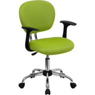 Flash Furniture Mid-Back Apple Green Mesh Task Chair with Arms and Chrome Base - H-2376-F-GN-ARMS-GG