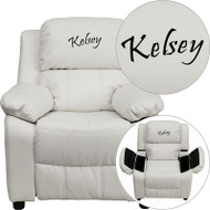 Flash Furniture Kid's Recliner with Storage Dreamweaver Embroiderable White Vinyl - BT-7985-KID-WHITE-EMB-GG