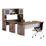 "Mayline Medina Laminate Executive 63"" Desk U-Shaped Package Right Textured Brown Sugar Finish - MNT34TBS"