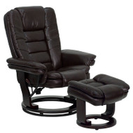 Flash Furniture Contemporary Brown Leather Recliner and Ottoman with Swiveling Wood Base - BT-7818-BN-GG