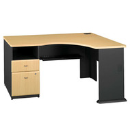 Bush Business Furniture Series A Corner Desk with 2-Drawer Pedestal Beech - WC14328PA