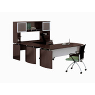 "Mayline Medina Laminate Executive 63"" Desk U-Shaped Package Right Mocha - MNT34-LDC"