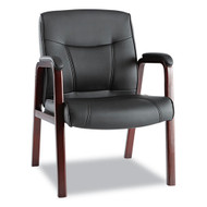 Alera Madaris Series Leather Guest Chair w/Wood Trim, Black/Mahogany - MA43ALS10M