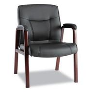 Alera Madaris Series Leather Guest Chair w/Wood Trim, Black/Mahogany - MA43ALS10M