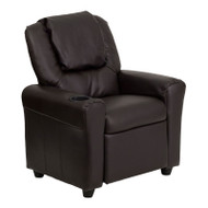 Flash Furniture Kid's Recliner with Cup Holder Brown Vinyl - DG-ULT-KID-BRN-GG