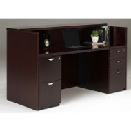 Mayline Mira Reception Desk Station with One B/B/F Pedestal and One F/F Pedestal 72W x 36D x 43 1/2H Espresso - MRSBF